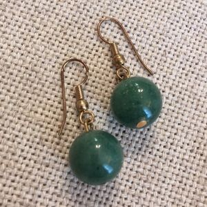 Green Stone Marble Look Bead Round Ball Earrings